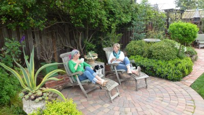 Jenny & Rebecca relaxing in the garden copy