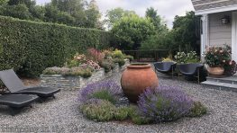 garden makeover-northern california-removing pools-garden urn-fountain urn-pea gravel