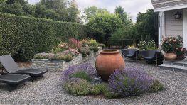 garden makeover-northern california-removing pools-garden urn-fountain urn-pea gravel