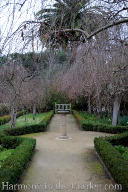 late winter formal garden